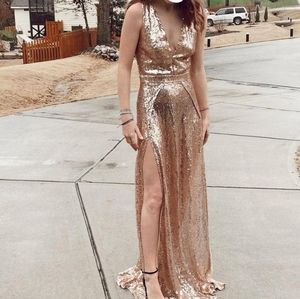 Ricarica Rose Gold Sequin Gown M or L